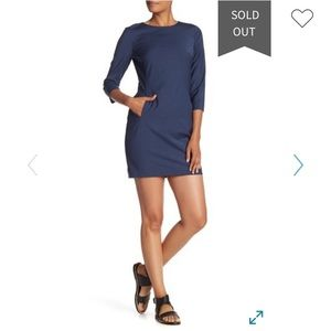 Theory Rikala 3/4 Length Sleeve Wool Blend Dress